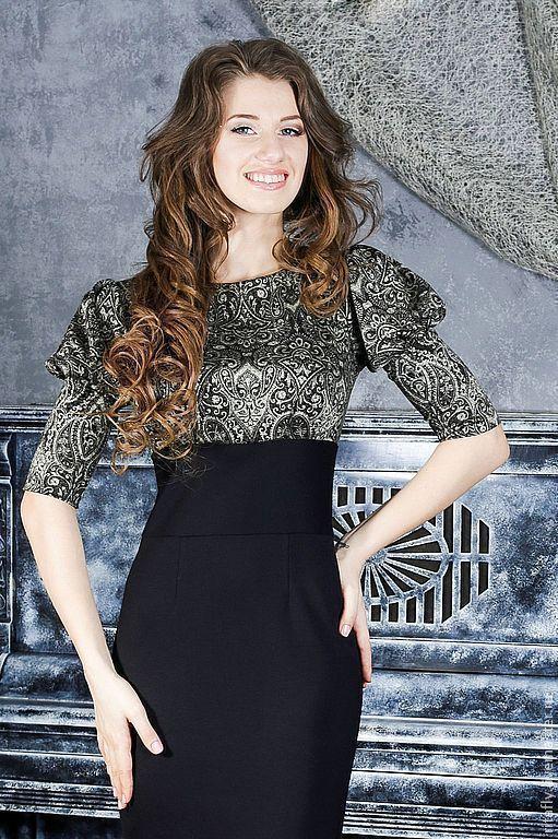 Цвет: оливковый+черный. женское платье с завышенной талией и рукавом фонарик. платье по фигуре, платье в офис, повседневное платье