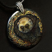 handmade. Livemaster - original item Wolverine-totem pendant with author`s painting on black agate. Handmade.