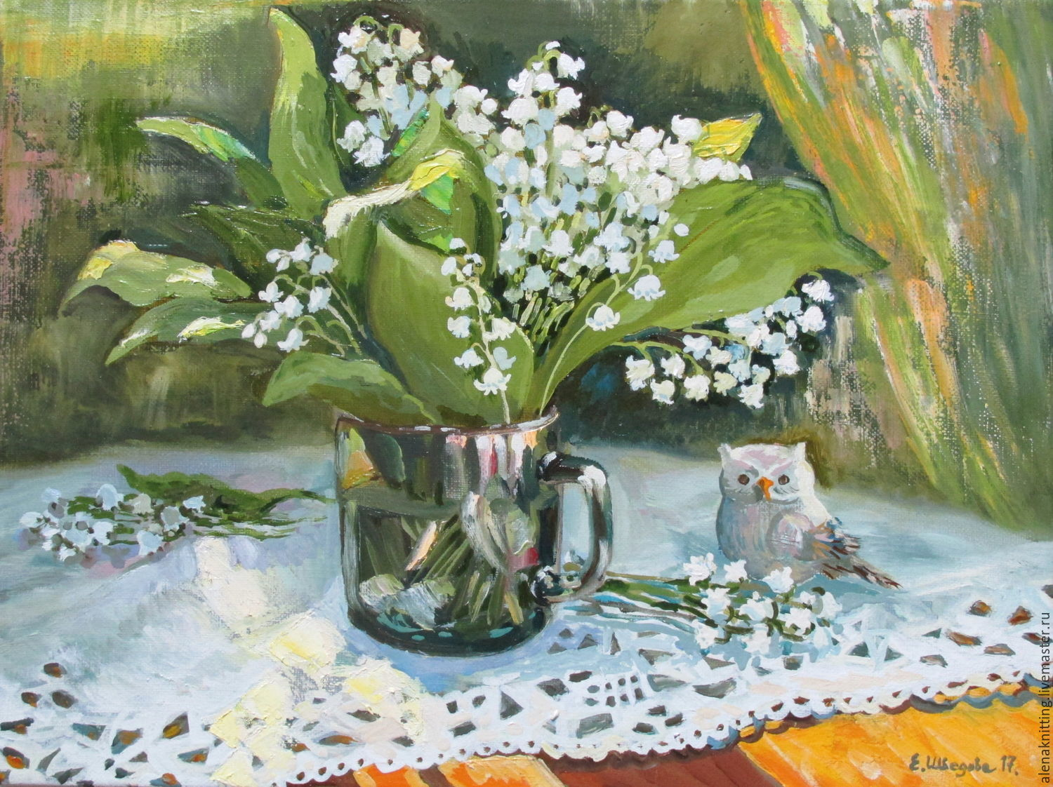 Elena Shvedova oil Painting `lilies of the valley and a ray of sunshine` ( canvas on stretcher, oil) 30h40, 2017.