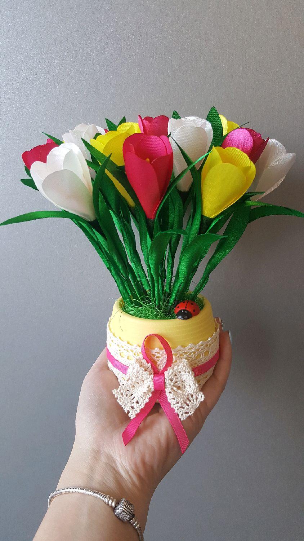 Фото цветы в горшках из атласных лент