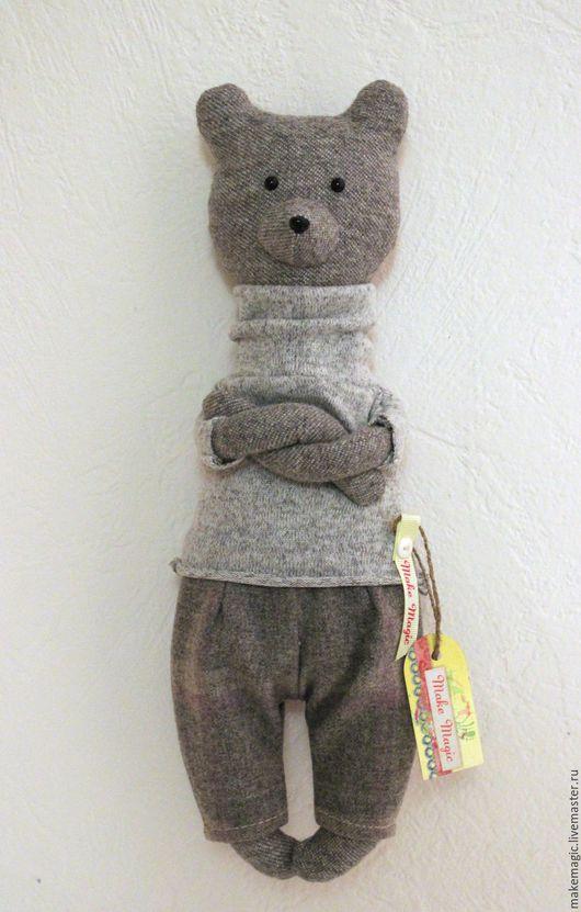 Человечки ручной работы. Ярмарка Мастеров - ручная работа. Купить Медведь Топтыгин в сером. Handmade. Серый, медвежонок, текстильная игрушка