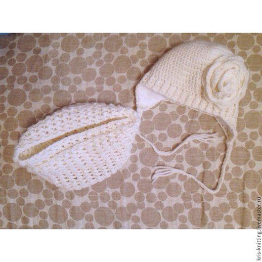 Шапки и шарфы ручной работы. Ярмарка Мастеров - ручная работа. Купить Комплект-детская шапочка и снуд. Handmade. Белый, однотонный