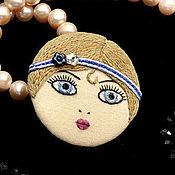 Украшения ручной работы. Ярмарка Мастеров - ручная работа Брошь Flapper Girl куколка голубоглазая блондинка / брошь лицо камея. Handmade.