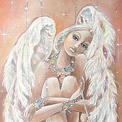"""Картины и панно ручной работы. Ярмарка Мастеров - ручная работа Картина на шелке """"Ангел на звездных качелях"""". Handmade."""