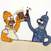 Открытки ручной работы. Ярмарка Мастеров - ручная работа Квиллинг панно Гомер Симпсон и Бендер. Handmade.