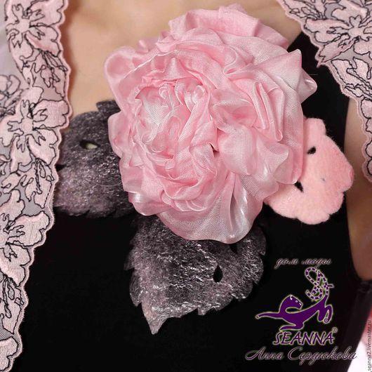 Броши ручной работы. Ярмарка Мастеров - ручная работа. Купить Роскошная розовая роза - брошь из шелка и кашемира, ручное валяние. Handmade.