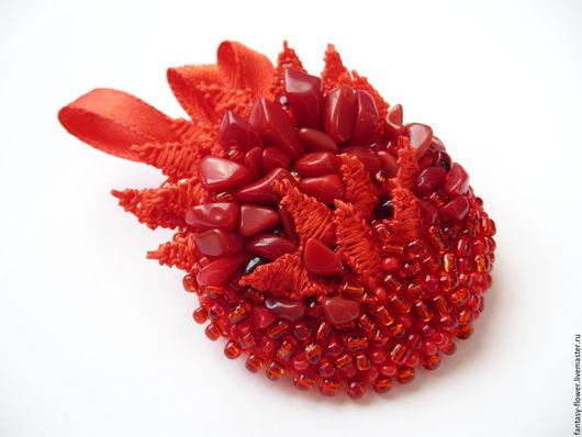 """Броши ручной работы. Ярмарка Мастеров - ручная работа. Купить Брошь """"Коралловый риф"""". Handmade. Ярко-красный, брошь в подарок"""
