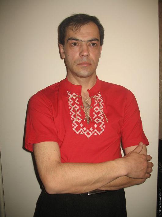 Одежда ручной работы. Ярмарка Мастеров - ручная работа. Купить Футболка с вышивкой. Handmade. Ярко-красный, славянская одежда