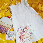 Одежда ручной работы. Ярмарка Мастеров - ручная работа Детское льняное платьице. Handmade.