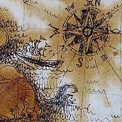 """Картины и панно ручной работы. Ярмарка Мастеров - ручная работа Графика """"Карта сокровищ"""". Handmade."""