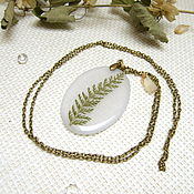 Украшения handmade. Livemaster - original item Pendant Transparent Green Leaf Milfoil Botany Eco Boho Pendant. Handmade.