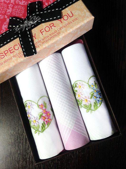 платок женский носовой подарок 14 февраля 8 Марта