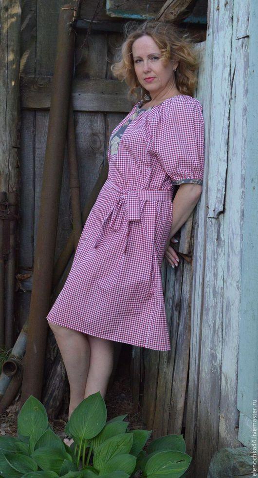 Платья ручной работы. Ярмарка Мастеров - ручная работа. Купить Платье в клеточку. Handmade. Белый, легкое платье, солнце