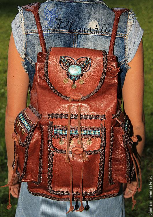 Рюкзаки ручной работы. Ярмарка Мастеров - ручная работа. Купить Рюкзак кожаный с бирюзой. Handmade. Коричневый, этно, рюкзак коричневый