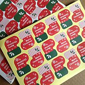 Материалы для творчества ручной работы. Ярмарка Мастеров - ручная работа Наклейка, стикер  (18 штук), новый год. Handmade.