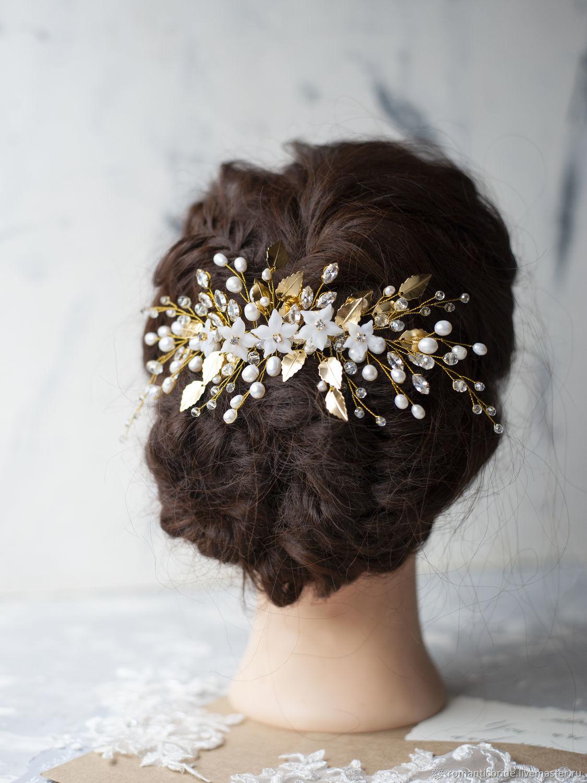Свадебные украшения ручной работы. Ярмарка Мастеров - ручная работа. Купить Гребень для прически невесты с золотыми листиками и цветами. Handmade.
