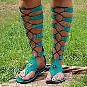 High Boots handmade. Livemaster - original item Gladiators suede turquoise with lacing. Handmade.