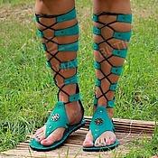 Обувь ручной работы handmade. Livemaster - original item Gladiators suede turquoise with lacing. Handmade.