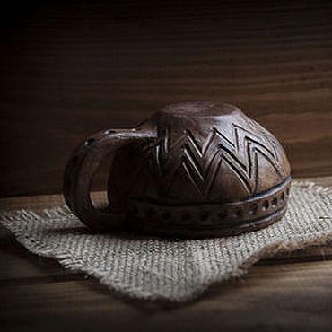 Посуда ручной работы. Ярмарка Мастеров - ручная работа Чашка с прочерченным узором.. Handmade.