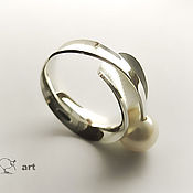 Украшения handmade. Livemaster - original item Silver ring with pearls. (silver 925, natural pearl). Handmade.