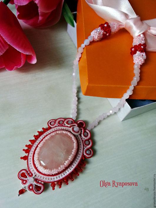 """Кулоны, подвески ручной работы. Ярмарка Мастеров - ручная работа. Купить Кулон """"Шармель"""". Handmade. Розовый, сутаж, розовый кварц"""
