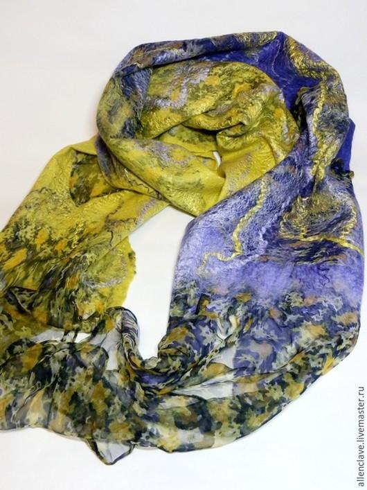 Шарфы и шарфики ручной работы. Ярмарка Мастеров - ручная работа. Купить шарф валяный фиолетово-желтый. Handmade. Абстрактный