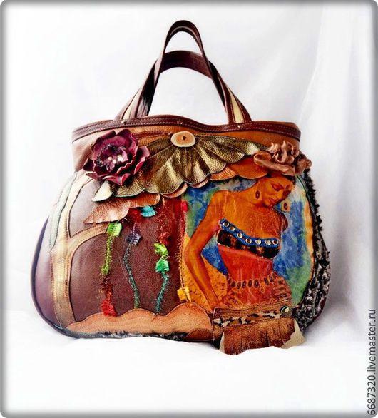 Женские сумки ручной работы. Ярмарка Мастеров - ручная работа. Купить Женская кожаная сумка  Африканские мотивы Ручная работа. Handmade.