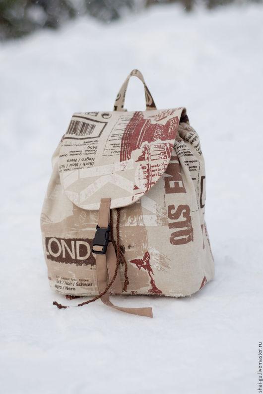 """Рюкзаки ручной работы. Ярмарка Мастеров - ручная работа. Купить рюкзак женский из ткани """"Лондон"""". Handmade. Коричневый, рюкзак городской"""