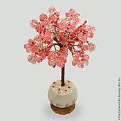 Цветы и флористика handmade. Livemaster - original item Miniature tree health of chalcedony in a vase of onyx. Handmade.