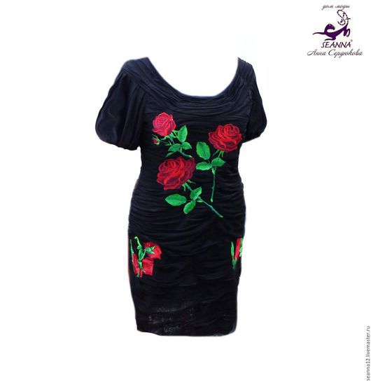 """Большие размеры ручной работы. Ярмарка Мастеров - ручная работа. Купить Роскошное платье с вышивкой """"Рубиновые розы"""" стройнящее. Handmade."""