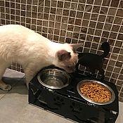 """Для домашних животных, ручной работы. Ярмарка Мастеров - ручная работа Подставка для мисок """"Черный кот"""". Handmade."""