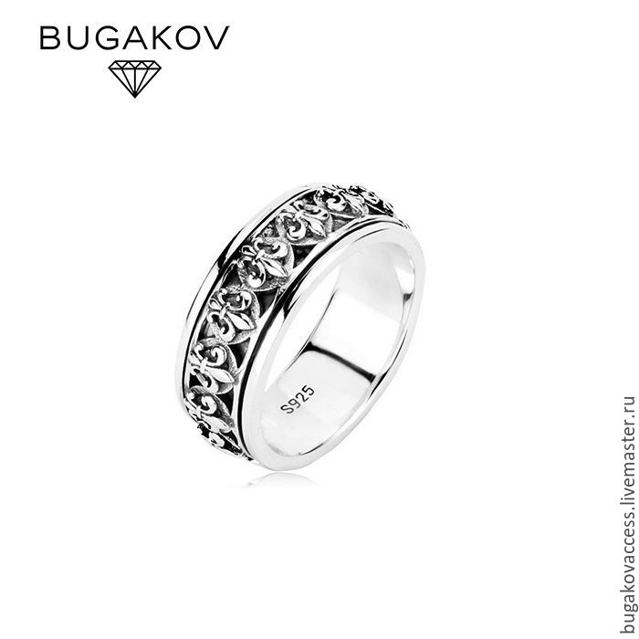 Ring with Royal lilies on a rotating middle from silver 925, Rings, Moscow, Фото №1