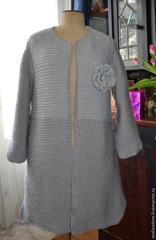 """Верхняя одежда ручной работы. Ярмарка Мастеров - ручная работа. Купить Вязаное пальто  """"2 оттенка серого"""". Handmade. Серый"""