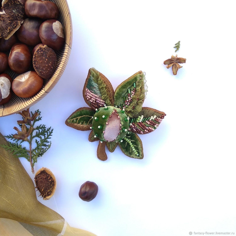 Brooch ' Velvet chestnut', Brooches, Cherkessk,  Фото №1