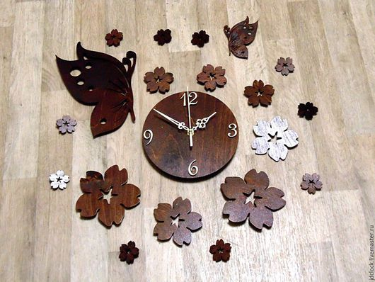 """Часы для дома ручной работы. Ярмарка Мастеров - ручная работа. Купить Настенные часы """"Цветочная феерия"""". Handmade. Коричневый"""