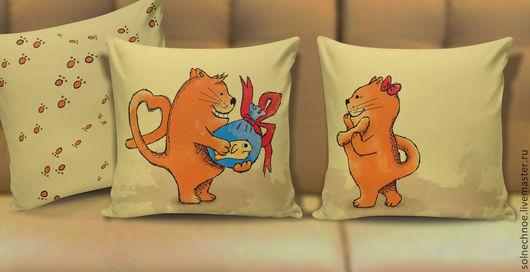 """Текстиль, ковры ручной работы. Ярмарка Мастеров - ручная работа. Купить Подушки парные """"Подарок от всей души"""". Handmade. Коты"""