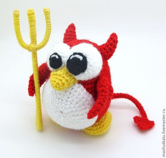 Игрушки животные, ручной работы. Ярмарка Мастеров - ручная работа. Купить Пингвин Чёртик Daemon BSD - вязаная игрушка крючком. Handmade.