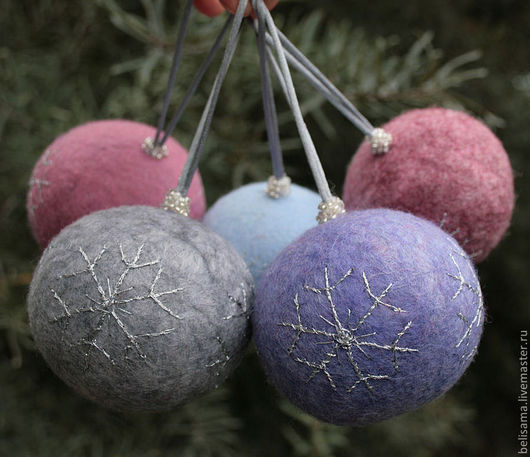 New Year 2017 handmade. Livemaster - handmade. Buy Christmas balls of wool 'Silver winter'.Silver, christmas decorations