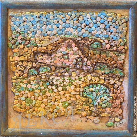 Декоративное настенное панно `Домик`. Мозаика. Панно в гостиную. Панно в детскую. Необычный подарок на любой случай.