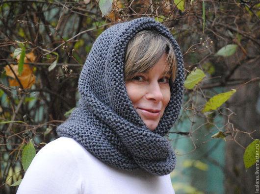 """Шали, палантины ручной работы. Ярмарка Мастеров - ручная работа. Купить Снуд-шарф  темно-серый  """"Тучка"""" (шерсть). Handmade."""