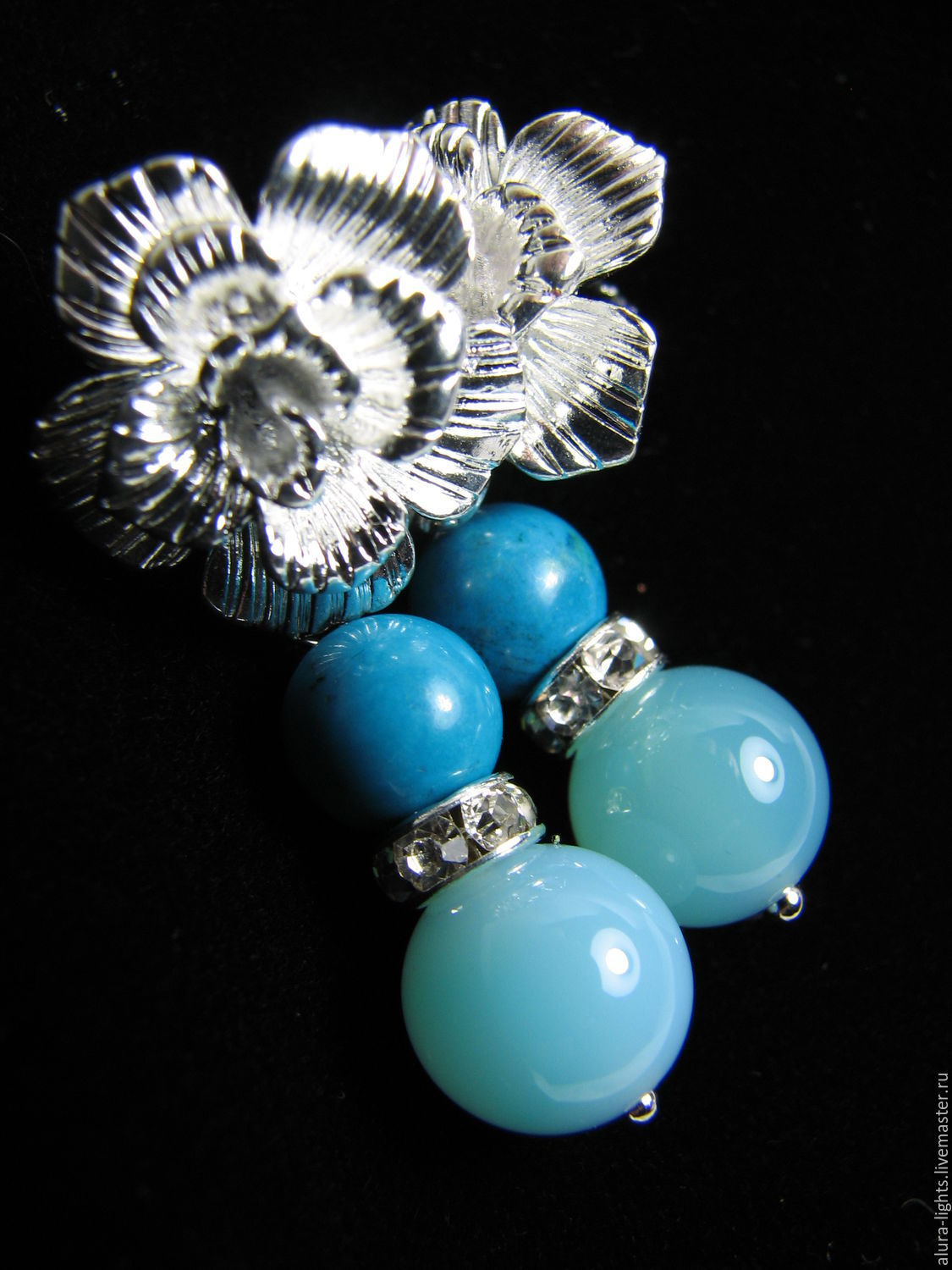 Earrings with agate and Turkmenistan 'Blue lagoon', Earrings, Moscow,  Фото №1