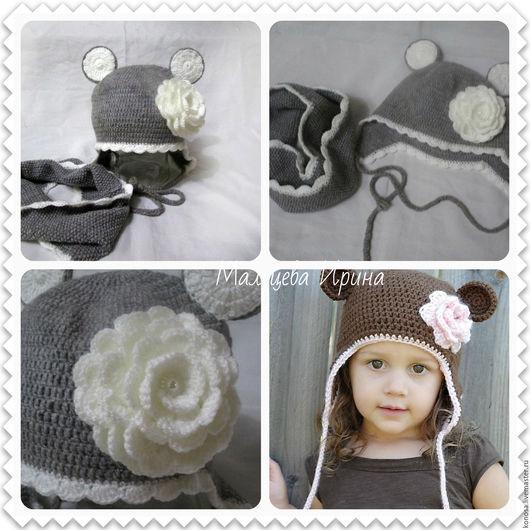 Шапки и шарфы ручной работы. Ярмарка Мастеров - ручная работа. Купить Детская шапка с ушками и снуд в один оборот. Handmade. Серый