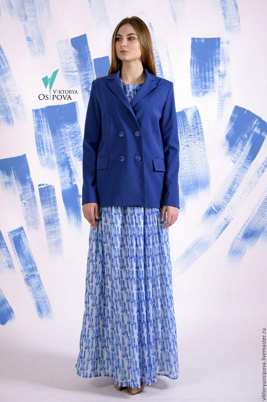 Пиджаки, жакеты ручной работы. Ярмарка Мастеров - ручная работа. Купить Жакет двубортный. Handmade. Синий, пиджак, модный жакет