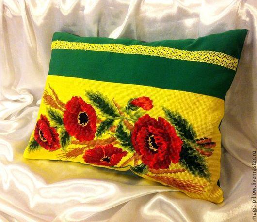 """Текстиль, ковры ручной работы. Ярмарка Мастеров - ручная работа. Купить Вышитая подушка """"Маковый букет""""(чехол). Handmade. Маки, красный"""