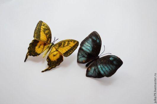 Броши ручной работы. Ярмарка Мастеров - ручная работа. Купить Бабочки. Handmade. Желтый, брошь из шерсти, юлия валовая