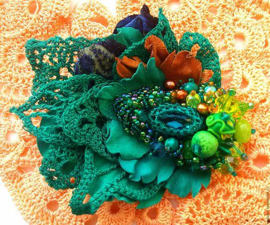 """Броши ручной работы. Ярмарка Мастеров - ручная работа. Купить Брошь """"ранняя весна"""". Handmade. Зеленый, кружево ручной работы"""