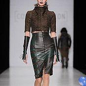 Одежда handmade. Livemaster - original item Leather pencil skirt with straps. Handmade.