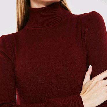 Одежда ручной работы. Ярмарка Мастеров - ручная работа Водолазка шерсть бордового цвета. Handmade.
