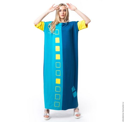 Платья ручной работы. Ярмарка Мастеров - ручная работа. Купить Платье в пол Цветная Геометрия. Handmade. Комбинированный, квадраты