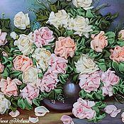 """Картины и панно ручной работы. Ярмарка Мастеров - ручная работа """"Розы для любимой-2""""(вышивка лентами). Handmade."""
